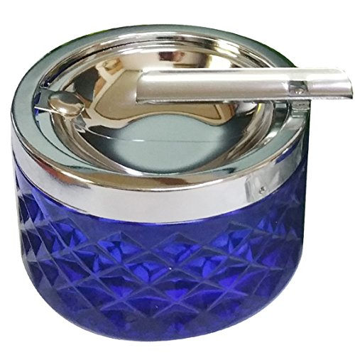 (NewFerU Smokeless Glass Ashtrays for Cigarettes Cigars with Covered Stainless Push Down Flip Top Lid Portable Windproof Ash Tray Bucket for Home Tabletop,Patio,Sand,Car,Auto,Outdoor,Indoor (Blue) )