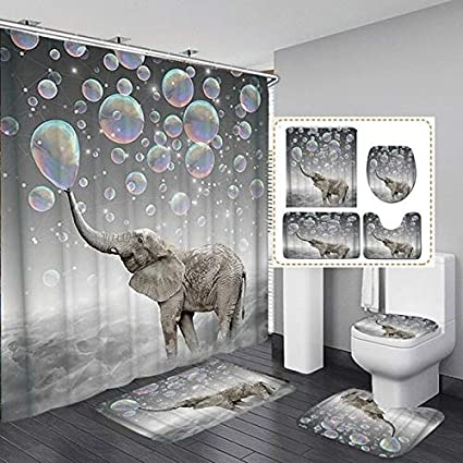 Bath Rugs Toilet Mat Toilet Lid Rug wtih 12 Hooks Fashion/&Man 4PCS Cute Elephant Shower Curtain Sets with Rugs Waterproof Polyester Fabric Bathroom Curtains 72x72in Elephant Blowing Bubbles