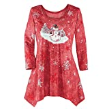 WOCACHI Final Clear Out Christmas Womens Blouses Drape Hem Sweatshirt Pullover Xmas Tops Shirts Winter Bottoming Shirt Reindeer Crew Neck Snowman (Red, Small)