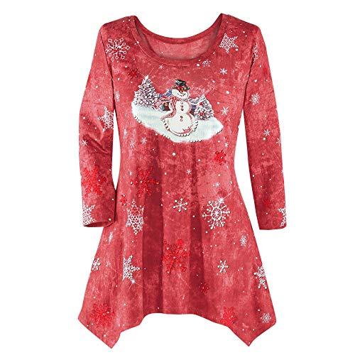Paillette Sleeveless Short - ANJUNIE Plus Size Christmas Pullover Women's Winter Festive Waterfall Irregular Hem Blouse Top(3-Red,M)