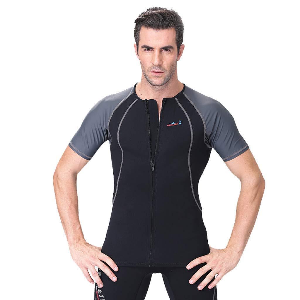 CofeeMO Short Sleeve Men 1.5mm Neoprene Diving Suit,2 Piece Rash Guard Surfing Swimwear Wetsuit(Gray,XXL)