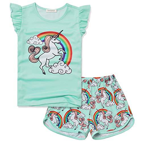 Princess Unicorn Pjs for Girls Size 8 Children Sleepwear Cotton Shorts Set -