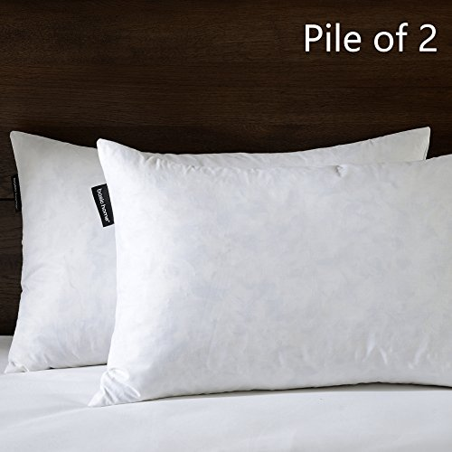 BASIC HOME 16X26 Oblong Feather & Down Pillow Insert, 100% Cotton Fabric, Set of 2, White