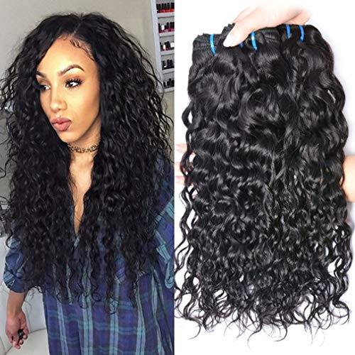 (GEM Beauty Brazilian Water Wave Hair 4 Bundles lot Wet and Wavy Remy Human Hair Extensions Unprocessed Virgin Brazilian Hair Bundles (10 10 10 10 inch))