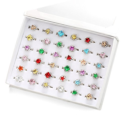 PinkSheep Diamond Rings for Kids, Girl 36PCS Colorful Rhinestone Rings, Sparkle Adjustable, Girl Pretend Play and Dress Up Rings
