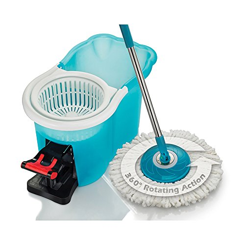 (Hurricane Spin Mop Home Cleaning System by BulbHead, Floor Mop with Bucket Hardwood Floor Cleaner)