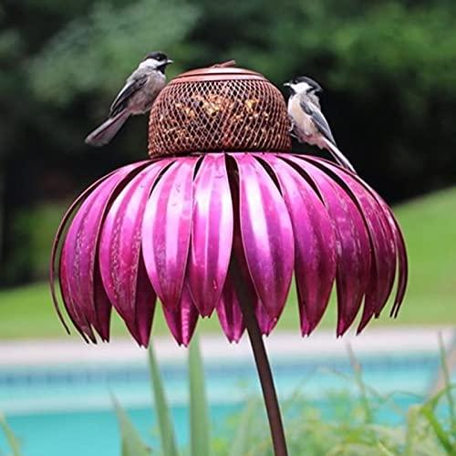 bestheart Bird Feeder for Outside, Pink Flower Bird Feeder for Garden Yard Decoration,Hummingbird Feeders for Outdoors,Easy to Clean & Fill Wild Bird Feeder