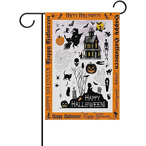 HUNAFIVG Premium Decorative Flags for Outdoors, Halloween Town Polyester Valentine's Day Garden Flag 12 x 18 Inch Banner Printing for Yard Decor]()