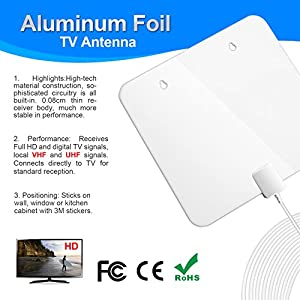 TV antenna for digital TV indoor, Digital Antenna, Aluminum Foil HDTV Antenna, 60+ Miles Indoor TV Antenna With Detachable Amplifier Booster, 1080P High and More Stable Reception