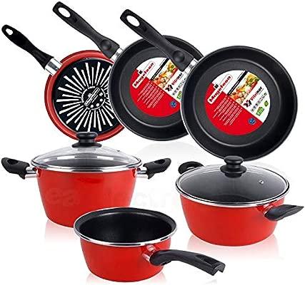 Magefesa Bateria de cocina 5 piezas + Set Juego 3 Sartenes 18-20-24 cm, inducción, antiadherente libre de PFOA, limpieza lavavajillas apta todas las ...