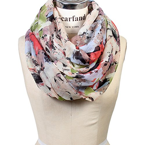 Review Scarfand's Mixed Color Oil Painting Infinity Scarf (BrushStroke Rose Ivory)