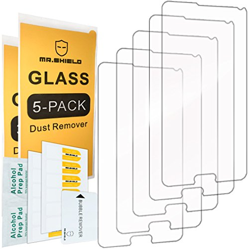 [5-Pack] - Mr.Shield for Samsung Galaxy Note 4 [Tempered Glass] Screen Protector [0.3mm Ultra Thin 9H Hardness 2.5D Round Edge] with Lifetime Replacement