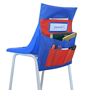 Chairback Buddy Pockets Chart, Kids School Supplies Chair Pocket, Classroom Seat Storage Organizer (Blue and Red)