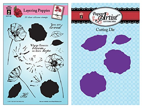 (Coordinating Clear Silicone Stamps and Cutting Die Set by Hot Off The Press | Scrapbooking, Card Making, Gifts and Home Décor - Inspiration to Create (Layering Poppies))
