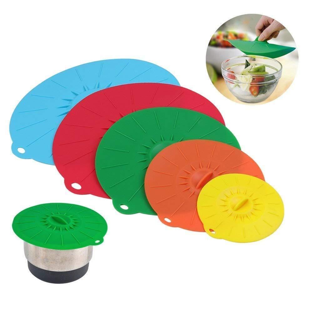 Depory Tapa de silicona Ventosa Muticolor alimentos cubiertas set de 5pieces para sartenes y skilletsmicroondas y mantener la cocina bien y alimentos frescos por