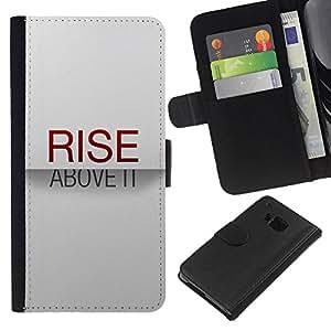 HTC One M7 , la tarjeta de Crédito Slots PU Funda de cuero Monedero caso cubierta de piel ( Rise Above It Red Text Inspirational White)