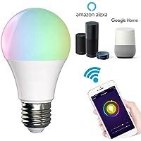 foco inteligentes, WiFi inalámbrico bombillas por Google Home Alexa Control de voz Led RGB tono Regulable Smart Life Dispositivos(ahorro de energía , E27,10W ,6500 K )