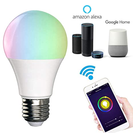 WiFi Smart Bulb E27 Working with Alexa, Google Home Assistant and IFTTT Voice Control Wireless Light Bulbs 10W RGB Dimmable Timing RC by Android & iOS, ...