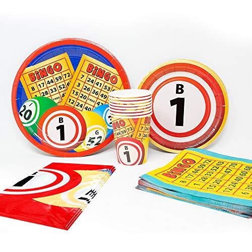 Bingo Deluxe Party Packs (70 Pieces for 16 Guests!), Bingo Party Supplies, Bingo Fundraiser, Tableware ()