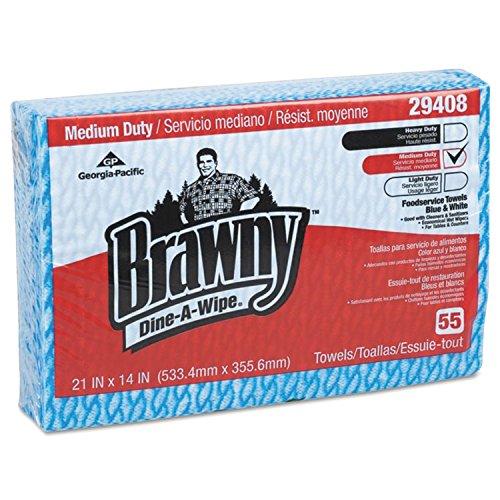 - Brawny Dine-A-Wipe Foodservice Towels, 14 X 21, Blue/white, Hydroknit