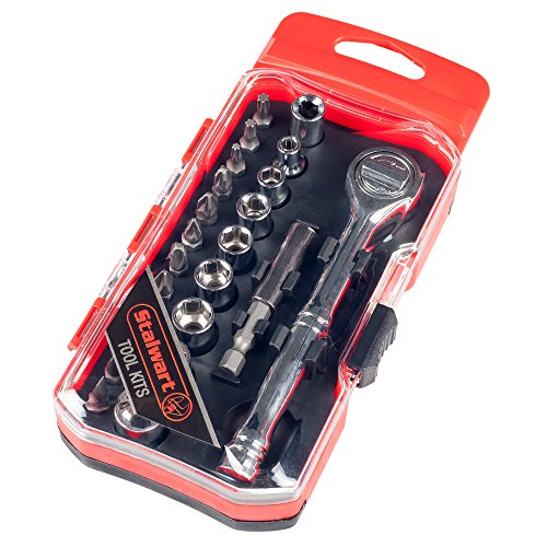 Stalwart 75-HT4023B Ratchet, Metric Socket and Bit Set (23 Piece) (Magnetic Ratchet)