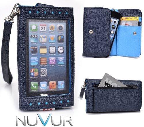 Dark Blue [Expose] Cover Case Wallet Clutch Blu Deco Pro Q350 + NuVur ™ Keychain (ESAMEXB1)