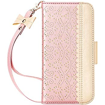 WWW iPhone 11 Case (6.1 inch),iPhone 11 Wallet Case, [Luxurious Romantic Carved Flower] Leather Wallet Case with [Inside Makeup Mirror] [Kickstand Feature] for iPhone 11 6.1
