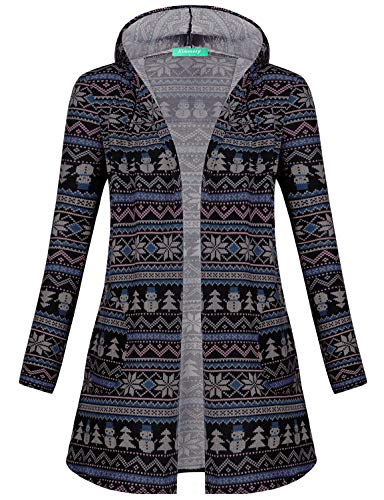 Kimmmey Rayon Cardigan, Womens Open Front Drapey Knit Duster Cardigans Light Long Sleeve Breathable Versatile Pattern Printed Thin Elastic Cute Office Thermal Clothing Blue Patterned L