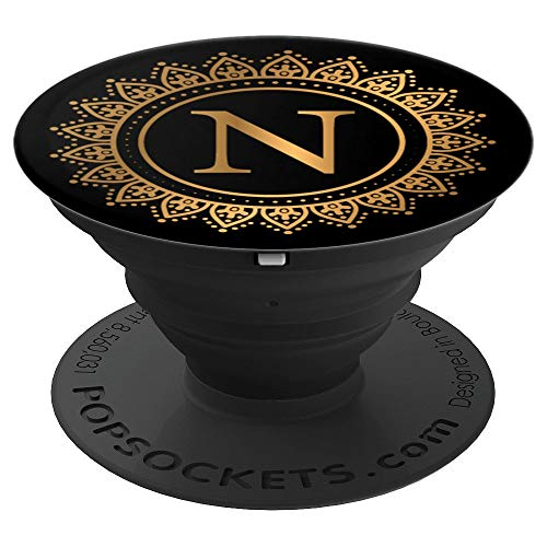 Letter N Initial Elegant Mandala Black Monogram - PopSockets Grip and Stand for Phones and Tablets -