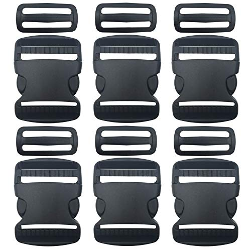 6 Set 2 Inch Flat Dual Adjustable Plastic Side Release Plastic Buckles and Tri-Glide Slides Quick Side Release Buckle for Luggage Straps Pet Collar Backpack Repairing (Black) ()