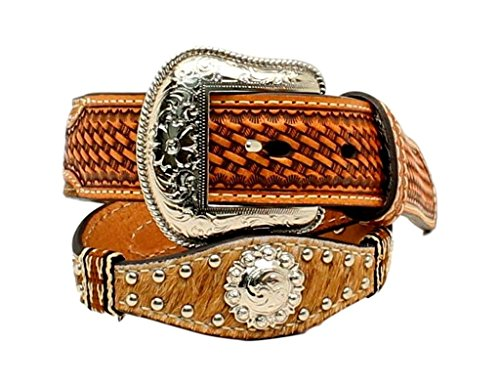 Nocona Boy's Calf Hair Western Style Studwork Conchos Belt, Natural, 24