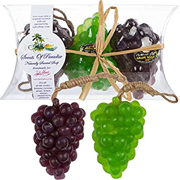 Grape Scented Soaps Fruit Shaped Scents Of Paradise Handmade Natural Soaps 3 Piece Gift Set With Coconut Oils, Fruit Flower Fragrances Paraben Phthalate Free By Heels Above