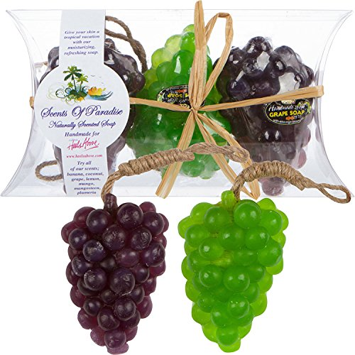 """Grape Scented Soaps – Fruit Shaped – """"Scents Of Paradise"""" Handmade Natural Soaps – 3 Piece Gift Set – With Coconut Oils, Fruit & Flower Fragrances–Paraben & Phthalate Free By Heels Above"""