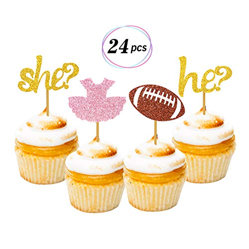 (Tutus or Touchdowns Gender Reveal Cupcake Toppers 24 Pack Glitter Gender Reveal Party Cake Decoration Baby Shower Party)