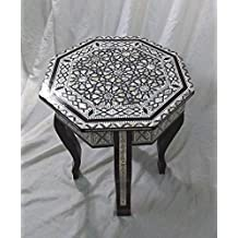 W90 Mother Of Pearl Moroccan Corner Wood Octagonal Table Arabesque End Coffee