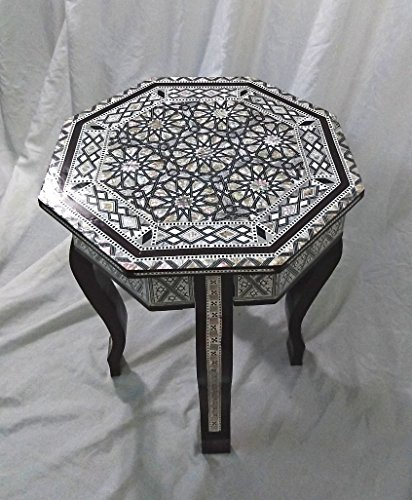 W87B Mother Of Pearl Moroccan Corner Wood Octagonal Table Brown End Coffee (Mother Of Pearl Coffee Table)
