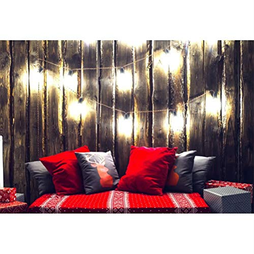 - Laeacco Christmas New Year Backdrop 7x5ft Vinyl Photography Background Grunge Wooden Wall Backdrop Rustic Wood Plank Lighting Bulb Xmas Elk Pattern Cushion Lover Christmas Room Interior Decoration