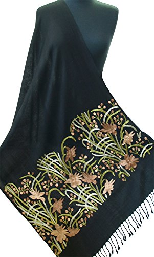 Crewel Embroidered Flowers (Crewel Embroidered Black Wool Shawl Rose Gold Flowers On Kashmir Stole 80