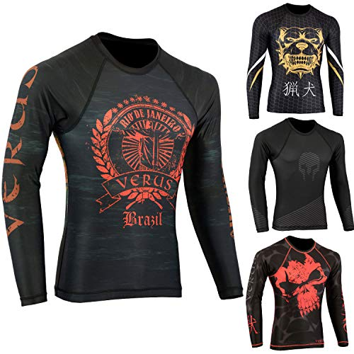 - Verus Rashguard Long Sleeve MMA BJJ Jiu Jitsu Grappling Fitness Training No Gi (Small, Brazil)