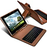 "ONX3 Asus ZenPad S 8.0 (Z580C) 8"" (Brown) Ultra-Slim Adjustable Tablet Case QWERTY Keyboard Stand Cover for Android Tablet with Micro USB Connection"