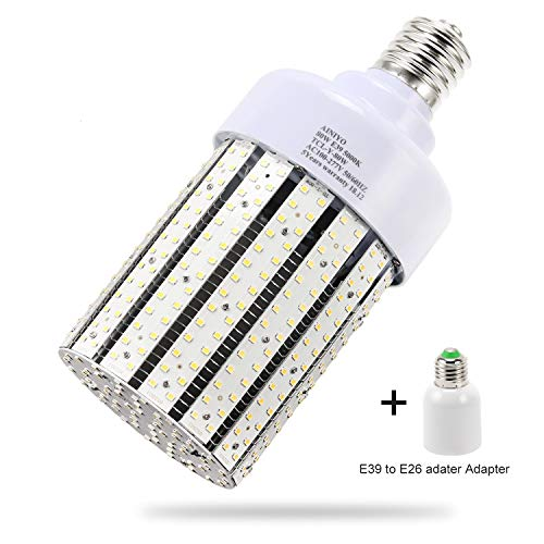 80W LED Corn cob Light Bulb, Large Mogul Base E39 LED Bulbs,5000K Daylight AC110-277V,LED Replacement 250W Metal Halide HID HPS for steet Area Warehouse Parking lot High Bay Canopy shoebox Fixture