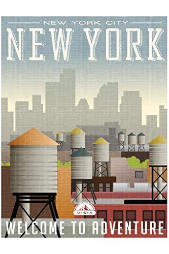 New York City Welcome to Adventure Retro Travel Art Poster 24x36 inch ()