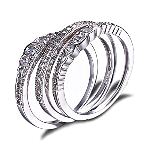 JewelryPalace CZ Stackable Wedding Band Engagement Ring 925 Sterling Silver