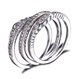 JewelryPalace CZ Stackable Wedding Band Engagement Ring 925 Sterling Silver Size 7