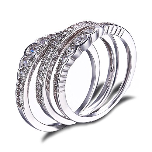 JewelryPalace CZ Stackable Wedding Band Engagement Ring 925 Sterling Silver Size 6