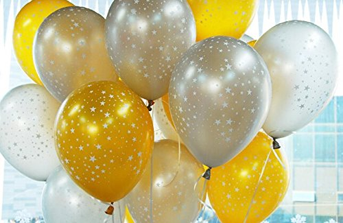 30ct Assorted Gold & Silver Around Star Balloons