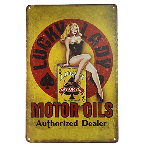 dingleiever DL-Lucky Lady Motor Oil Gas Service Garage Dealer Retro Pinup Girl Metal Tin Sign