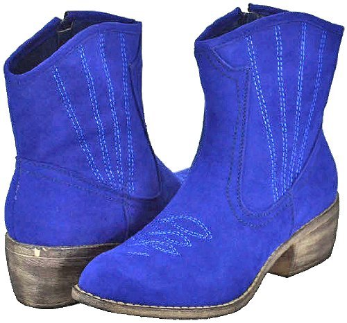 Bonnibel Calico-2 Royal Blue Women Cowboy Ankle Boots, 5.5 M US
