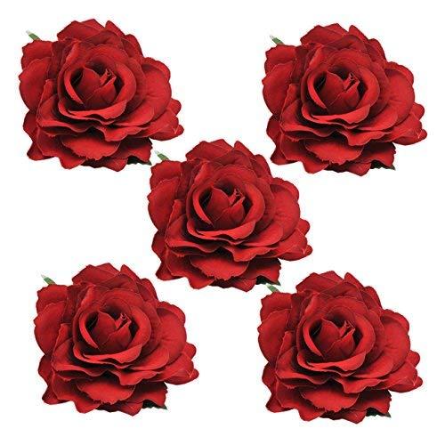 DRESHOW 5 Pack Flower Brooch Head Ornament Bride Women Rose Flower Hair Accessories Wedding Hair Clip Flamenco Dancer from DRESHOW