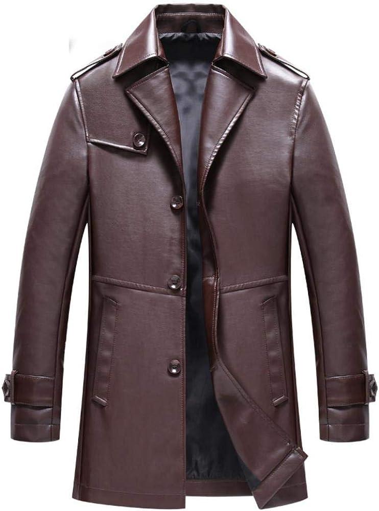 Zhuwuneng Printemps Et Automne en Plein Air Hommes Revers Veste Mi-Longueur en Cuir PU Affaires Grande Taille Manteau en Cuir Décontracté Marron